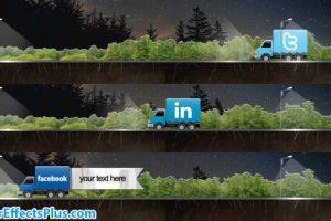 پروژه افتر افکت زیرنویس شبکه اجتماعی با کامیون کارتونی – Social Truck Lower Third