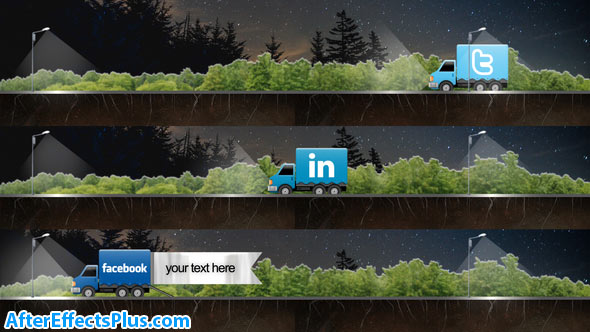 پروژه افتر افکت زیرنویس شبکه اجتماعی با کامیون - Social Truck Lower Third