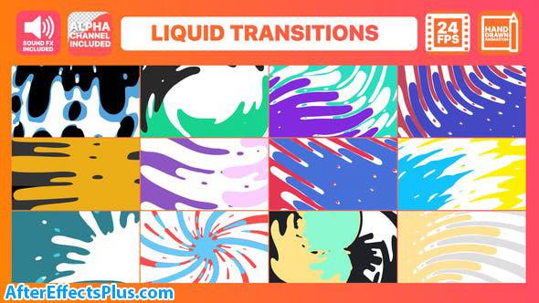پروژه افتر افکت پکیج ترانزیشن مایع کارتونی - Liquid Transitions Pack