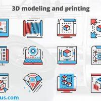 پروژه افتر افکت آیکون متحرک برای طراحی و مدل سازی سه بعدی