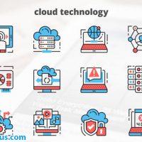 پروژه افتر افکت آیکون متحرک تکنولوژی ابری و هاستینگ