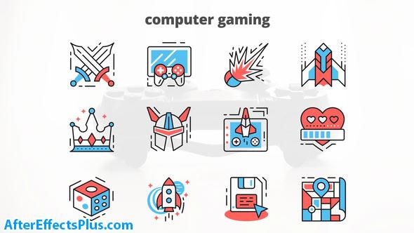 پروژه افتر افکت آیکون متحرک بازی کامپیوتری