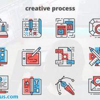 پروژه افتر افکت آیکون متحرک برای فرایند خلاقانه