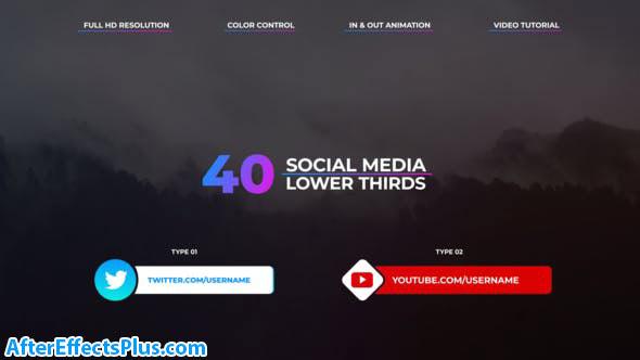 پروژه افتر افکت زیرنویس متحرک شبکه های اجتماعی - Social Media Lower Thirds