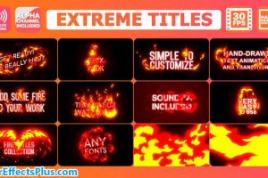 پروژه افتر افکت نمایش متن و لوگو با آتش کارتونی – Extreme Titles