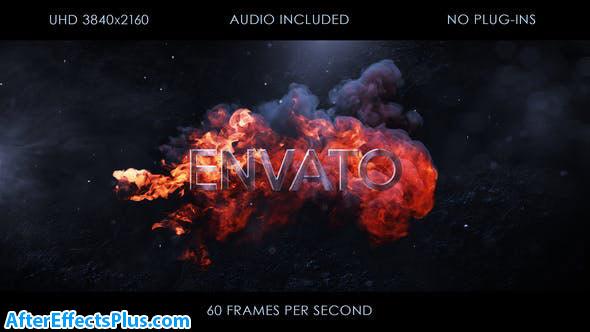 پروژه افتر افکت نمایش لوگو بین آتش و دود