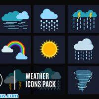 پروژه افتر افکت پکیج 15 آیکون وضعیت آب و هوا – 15 Weather Icons Pack