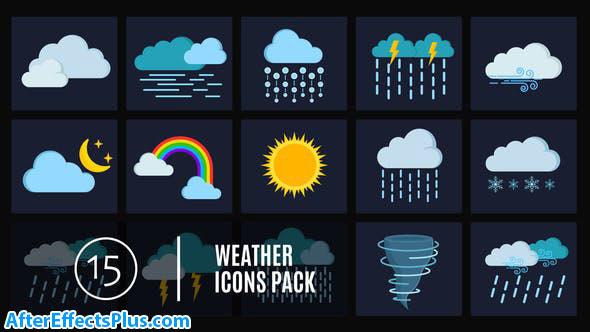 پروژه افتر افکت پکیج 15 آیکون وضعیت آب و هوا - 15 Weather Icons Pack
