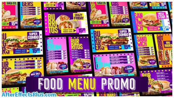 پروژه افتر افکت تیزر تبلغاتی منو غذای رستوران - Food Menu Restaurant Promotion