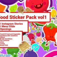 پروژه افتر افکت پکیج استیکر و اموجی مواد غذایی – Food Sticker Pack