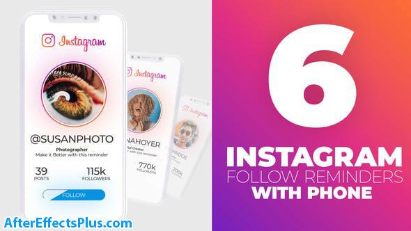 پروژه افتر افکت معرفی پیج اینستاگرام با موبایل - Instagram Follow Reminder With Phone