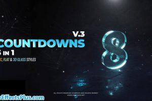 پروژه افتر افکت نمایش لوگو با شمارش معکوس در 3 ورژن – Countdowns