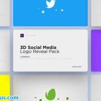 پروژه افتر افکت پکیج نمایش لوگو سه بعدی شبکه های اجتماعی – 3D Social Media Logo Reveal Pack