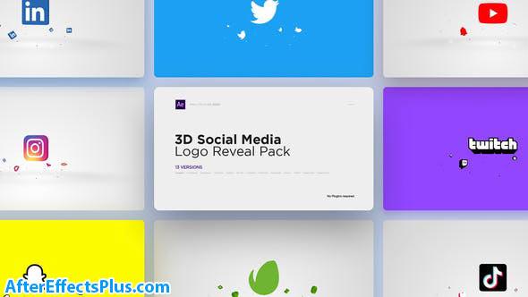 پروژه افتر افکت پکیج نمایش لوگو سه بعدی شبکه های اجتماعی