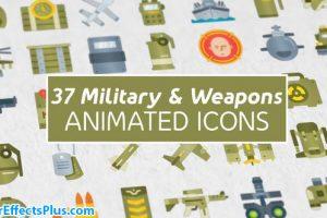 پروژه افتر افکت 37 آیکون نظامی و سلاح – 37 Military & Weapons Icons