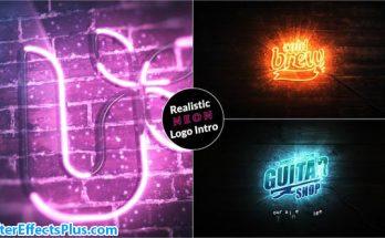 پروژه افتر افکت اینترو و نمایش لوگو با افکت نئون - Realistic Neon Logo Intro