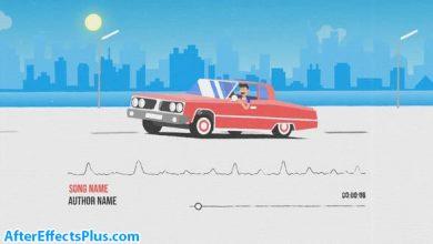 پروژه افتر افکت موزیک پلیر ماشین انیمیشنی - Car Music Visualizer