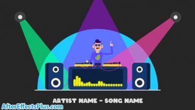 پروژه افتر افکت موزیک پلیر با کاراکتر کارتونی دی جی